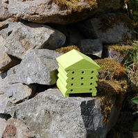 Lime Green Wooden Bee Hive House, Insect House, Gardening Gifts