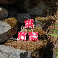 RED FESTIVE HOLLY TEXT PLUSH BAUBLES CHRISTMAS DECORATIONS SET OF 3