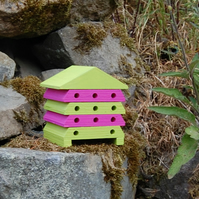 Hot Pink & Lime Green Wooden Bee Hive House, Insect House, Gardening Gifts