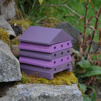 Purple Stripe Wooden Bee Hive House, Insect House,