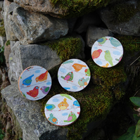 BRIGHT BIRDS COASTERS - SET OF 4