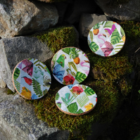 TROPICAL FLORA & FAUNA COASTERS - SET OF 4 - FLAMINGO - HUMMING BIRD - PARAKEET