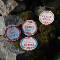 COFFEE TIME VINTAGE COASTERS - SET OF 4