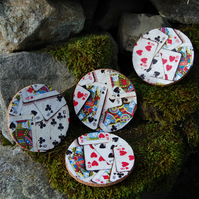 POKER NIGHT PLAYING CARDS QUEEN OF DIAMONDS COASTERS - SET OF 4