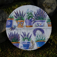 LARGE LAVENDER FLOWERS FLORAL COASTER - TABLE CENTRE