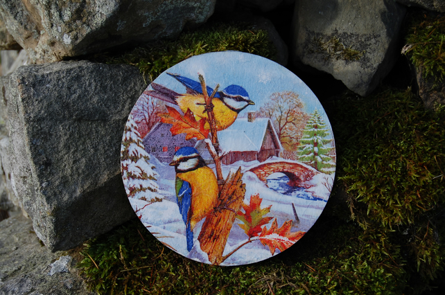LARGE FESTIVE WINTER BIRDS CHRISTMAS COASTER - TABLE CENTRE