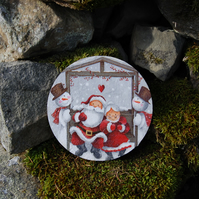 LARGE SANTA MR & MRS CLAUS FATHER CHRISTMAS COASTER - TABLE CENTRE