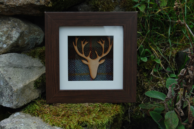 SCOTTISH STAG HARRIS TWEED PICTURE BOX FRAMED WALL ART