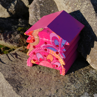 Bright Pink Retro - Wooden Bee Hive House - Insect House - Bug Hotel