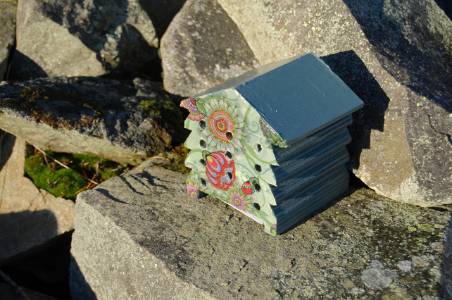 Retro Green Floral - Wooden Bee Hive House - Insect House - Bug Hotel