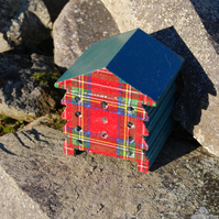 Tartan Red & Green - Wooden Bee Hive House - Insect House - Bug Hotel