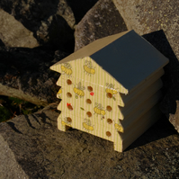 Yellow Bee Happy - Wooden Bee Hive House - Insect House - Bug Hotel