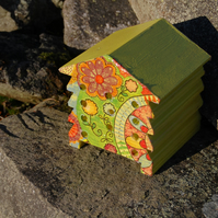 Bright Yellow Retro - Wooden Bee Hive House - Insect House - Bug Hotel