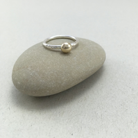 9ct Yellow Gold Pebble Hammered Sterling Silver Stacking Ring