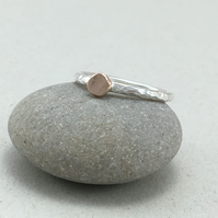 9ct Red Gold Pebble Hammered Sterling Silver Stacking Ring