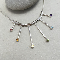 Sterling Silver Statement Rainbow Necklace