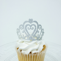 6 Tiara crown cupcake toppers glitter