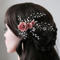 Bridal rose flower fascinator with wired pearl and crystal vines