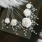 Bridal ivory, Off white Hair Pins set of 5, Roses hair pins, Weddign Hair Pins