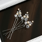 Cream Crystal Hair pins set of 3, Wedding Hair pins, Bridal Hair pins