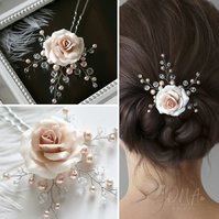 Rose Hair Pin, light rose, creamrose hairpiece with glass pearls and crystals.