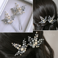 Grey and cream hair pins set of 2. Bridesmaid, prom hair pins.