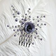 Lavender grey hair comb, Decorative rose comb, Grey Blue hair comb