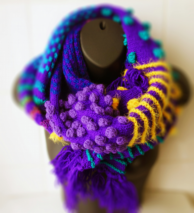 Hand Knit scarf in Acrylic yarn  OOAK Royal Purple and Ocean colours