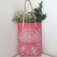 Bright Pink Pattern Tote Bag - Shibori Tie-Dye Bag - Leather Handles - Handbag