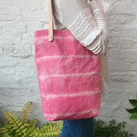 Shibori Tie Dyed Pink Tote Bag with Leather Handles