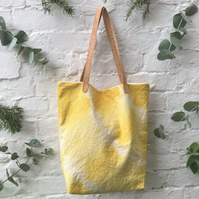 Natural Dye Shoulder Bag - Cork Straps - Yellow Tie Dye Tote Bag
