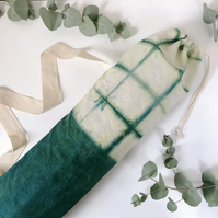 Natural Dye Yoga Mat Bag - Green Grid Pattern - Shibori Yoga Bag - Tie Dye