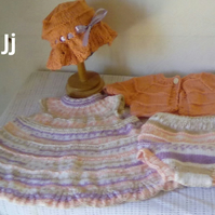 Hand Knitted Baby Dress, pants, cardigan and bonnet