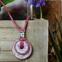 Stainless steel washer pendant. Pretty in pink