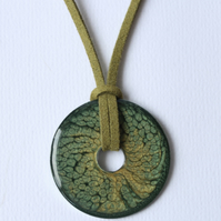 Stainless steel washer pendant. Green and gold unisex necklace