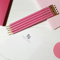 Personalised Pencils, Set Of 10 Pink Pencils with Gold Print. School or Office.