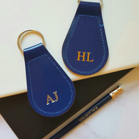 Personalised Leather Keyring, Add 1-4 Initials. Blue, Red or Green Keyring.