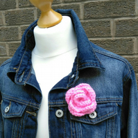 Crochet pink rose pussy hat pink rose yarn brooch flower brooch protest badge