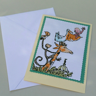 Giraffe Pelly and Me Roald Dahl blank card Fabric panel Quentin Blake