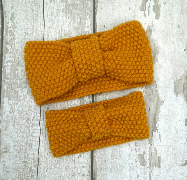 Mummy and Me knitted headband set Ladies and baby 3-12 months matching earwarmer