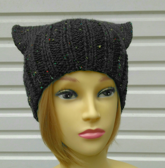 Knitted pussyhat black with speckles cat ear hat aran knit black hat with wool