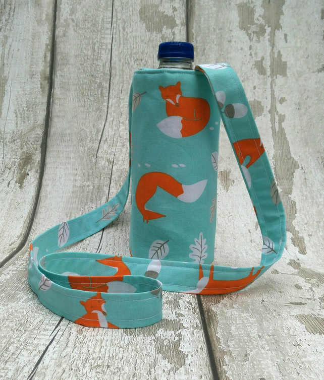 Water bottle carrier bag Cross body bag Fox design Insulated bag