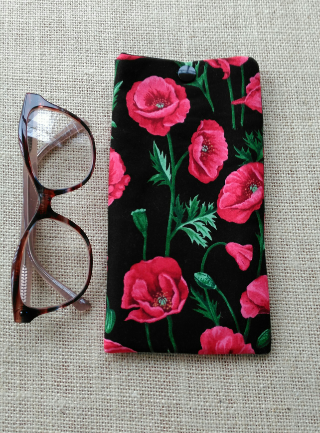 Poppy print cotton glasses case, poppies sunglasses pouch