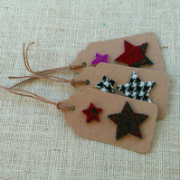 Set of 6 Fabric gift tags, Christmas Harris Tweed gift tags
