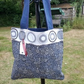 Navy Tote, Cotton Tote, Gift For Her.