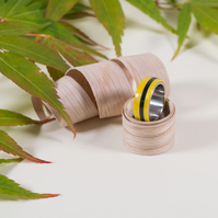 'Bumblebee' American Tulip Wood, Epoxy & Sterling Silver Ring