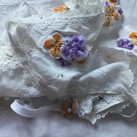 White Bunting made from Pre-loved Vintage Cotton and Crocheted Flowers