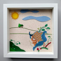 Embroidered flower and felt applique landscape picture