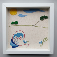 Embroidered and applique landscape picture