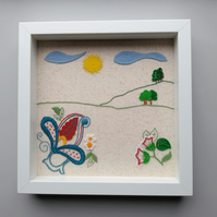 Embroidered and applique nature landscape picture
